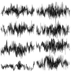 Set of abstract monochrome sound waves eps 10 vector