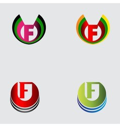 Set of alphabet symbols and elements of letter F vector
