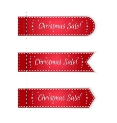 Set of three Christmas tags festive red with vector image