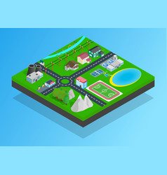 small town clip art isometric style vector image