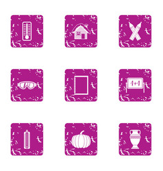 summer holiday icons set grunge style vector image