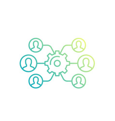 team interaction hr management linear icon vector image