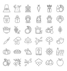 thanksgiving icon big set editable stroke outline vector image