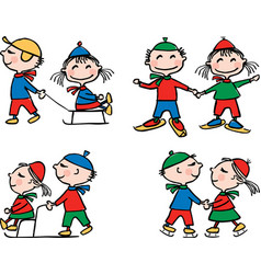 the cheerful kids in winter time vector image