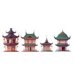 traditional chinese house building cartoon vector image