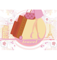 travel girl in france and italy with baggage vector image