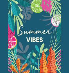 Tropical plant poster design with summer vibes vector