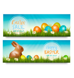 two easter sale banners with colorful ggs in vector image