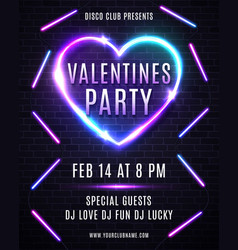 valentines day party design for flyer or poster vector image