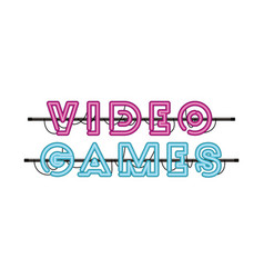Video games label in neon light icon vector