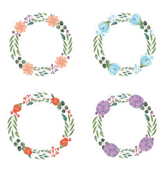 Wedding wreath set decoration flower leaves vector