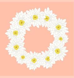 white chrysanthemum wreath vector image