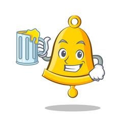With juice school bell character cartoon vector