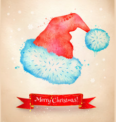 christmas vintage postcard with santa hat vector image vector image