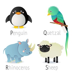 Alphabet with animals from P to S Set 2 vector image vector image