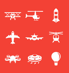 aircrafts icons airplane aviation air transport vector image
