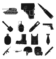 army and armament black icons in set collection vector image vector image