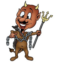 Brown Devil with Trident vector image vector image
