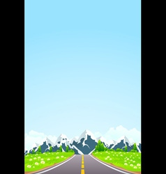 Green Landscape with Road Clouds and mountains vector image vector image
