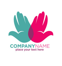 human hands company colorful logotype isolated on vector image vector image