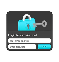 Login to your account form for websites and vector image
