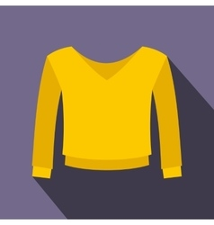 Yellow pullover icon flat style vector