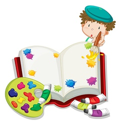 A boy painting a book vector image vector image