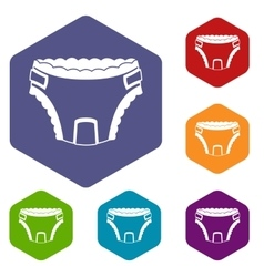 Baby diaper icons set vector image