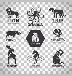 black silhouette animals logos vector image vector image
