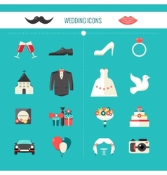 Color Decorative Wedding Icons vector image