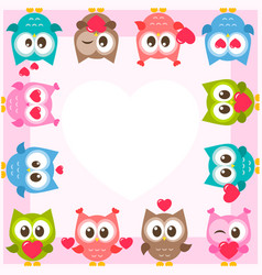 Frame with cute owls and hearts vector