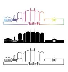 Nashville skyline linear style with rainbow vector image vector image