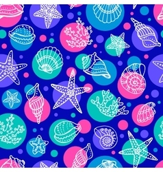 Seamless pattern with doodle seashells vector image vector image