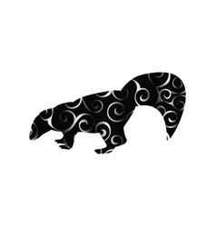skunk mammal color silhouette animal vector image vector image