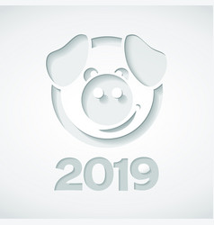 2019 and pig cut out of paper style vector image