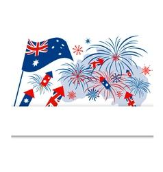 Australia flag and firework on white background vector image