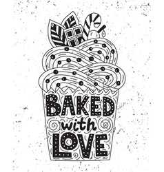 backed with love lettering inside of a cupcake vector image