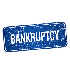 Bankruptcy blue square grunge textured isolated vector