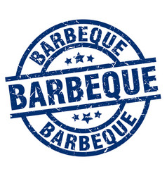 Barbeque blue round grunge stamp vector
