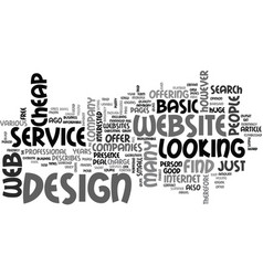 basic website design service text word cloud vector image