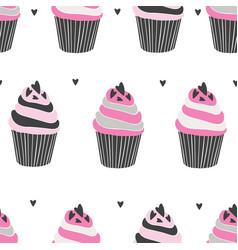 beautiful yummy cupcake seamless background vector image