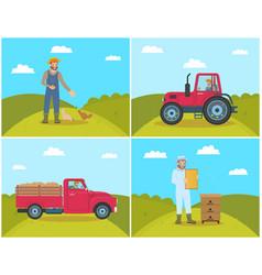 beekeeper on field lorry set vector image