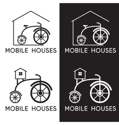 bicycle in design mobile houses vector image