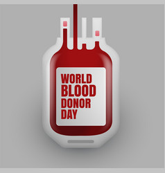Blood donation bottle for world donor day vector
