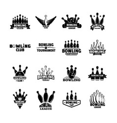 bowling kegling game logo set simple style vector image