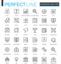 Business analytics thin line web icons set vector