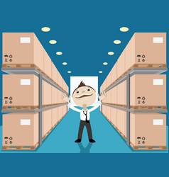 Businessman in a blue warehouse vector