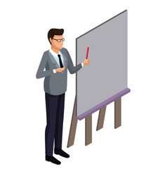 businessman on presentation 3d vector image