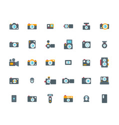Camera flat icon set vector
