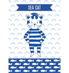 Card cute retro seaman vector image
